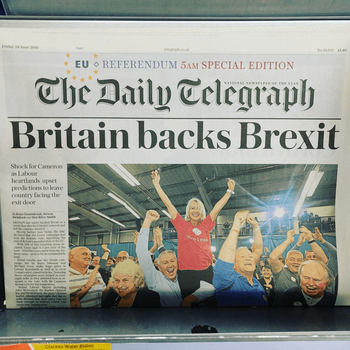 """Britain Backs Brexit"" headline in The Daily Telegraph"