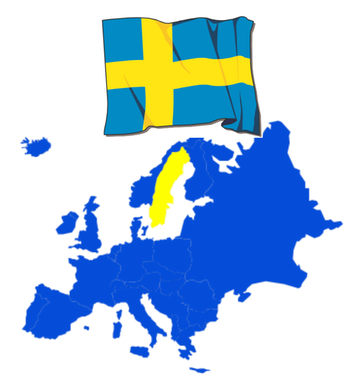 Sweden map and flag.